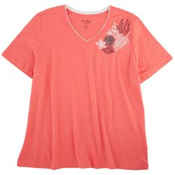 Coral Bay Plus Tropical Corner V-Neck Short Sleeve Top
