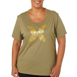 Coral Bay Plus Glitter Butterfly Screen Print Top