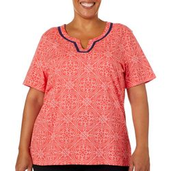 Coral Bay Plus Split Neck Geometric Tile Print Top