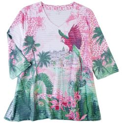 Coral Bay Plus Parrot  Print 3/4 Sleeve Top