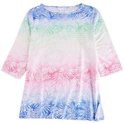 Coral Bay Plus Tropical Ombre Stripes 3/4 Top
