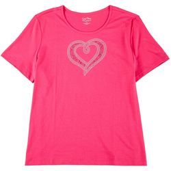 Plus Short Sleeve Jeweled Heart Top