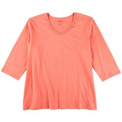 Coral Bay Plus Solid Crochet Neckline 3/4 Sleeve Top