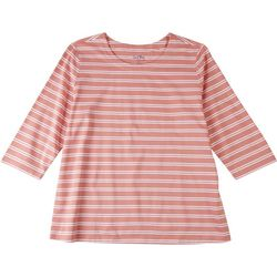 Coral Bay Plus Striped Scoop Neck 3/4 Sleeve