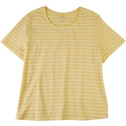 Coral Bay Plus Basic Striped Short Sleeve Top