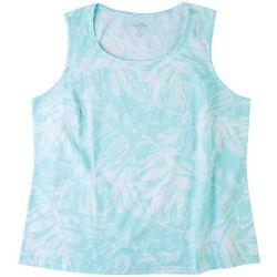 Coral Bay Womens Tropical Leaf Print Neck Tank Top
