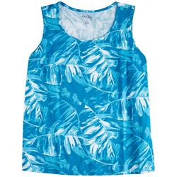 Coral Bay Womens Tropical Leaf Print Neck Tank Top