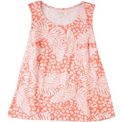 Coral Bay Plus Butterfly Print Scoop Neck Tank