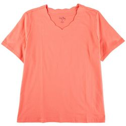 Coral Bay Plus Scalloped V Neck Solid Top