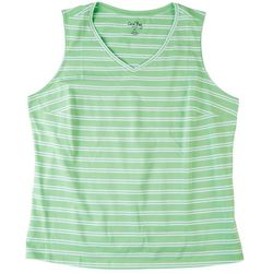 Coral Bay Plus Double Striped Scoop Neck Tank