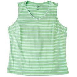 Womens Double Striped Scoop Neck Tank