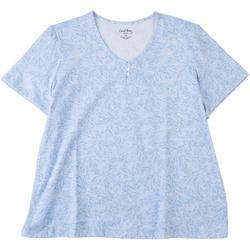 Plus Paisley V-Neck T-Shirt 1/4 Button Down