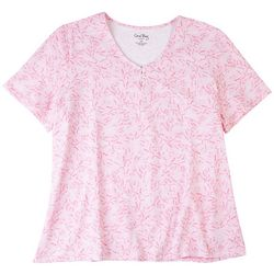Coral Bay Plus Coral Print Short Sleeve Top