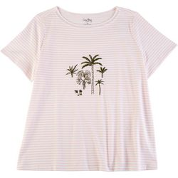 Coral Bay Plus Striped Palms Short Sleeve Top
