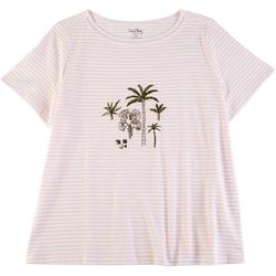 Plus Striped Palms Short Sleeve Top