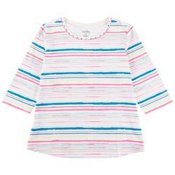 Plus Studded Stripe 3/4 Sleeve Top