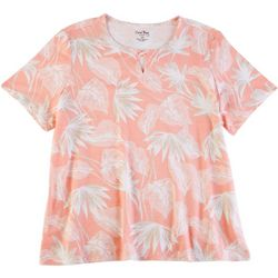 Coral Bay Plus Palm Frond Keyhole Short Sleeve Top
