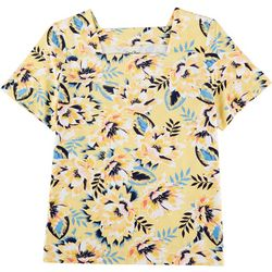 Coral Bay Plus Yellow Flowers Square Neck Top