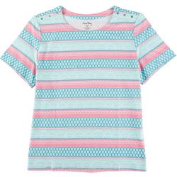 Coral Bay Plus Square Neck Printed Short Sleeve Top