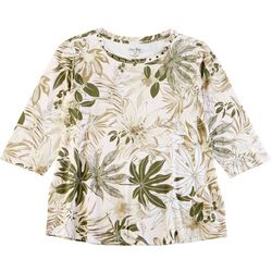 Coral Bay Plus Palm Frond Print Top
