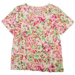 Coral Bay Plus Abstract Floral Twist Keyhole Neck Top