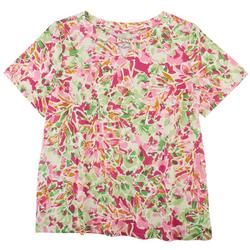 Plus Abstract Floral Twist Keyhole Neck Top