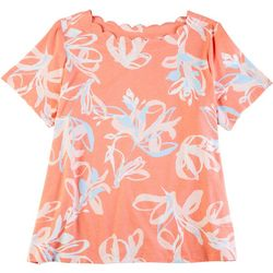 Coral Bay Plus Scalloped Floral Short Sleeve Top