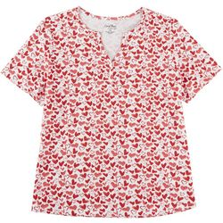 Coral Bay Plus Valentine Hearts Short Sleeve Top