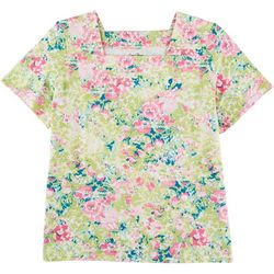 Coral Bay Plus Watercolor Floral Square Neck Shirt