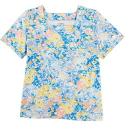 Coral Bay Plus Watercolor Floral Square Neck Shirt
