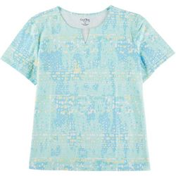 Coral Bay Plus Abstract Print Split Neck Top