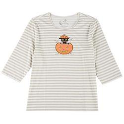 Coral Bay Plus Three Quarter Sleeve Cat Pumpkin Top
