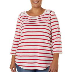 Coral Bay Plus Striped Glitter Detail Boat Neck Top