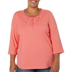 Coral Bay Plus Solid Crochet Detail Short Sleeve Top