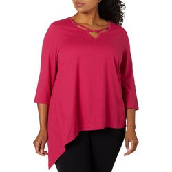 Coral Bay Plus Solid Embellished Caged Neckline Top