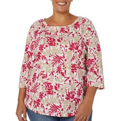 Coral Bay Plus Leaf Print Button Embellished Boat Neck Top
