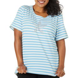 Coral Bay Plus Star Horizontal Stripes Top