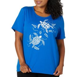 Coral Bay Plus Embellished Sea Turtles Florida Tee