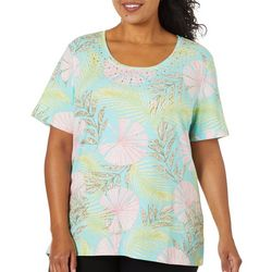 Coral Bay Plus Rhinestone Fans & Palms Print Top