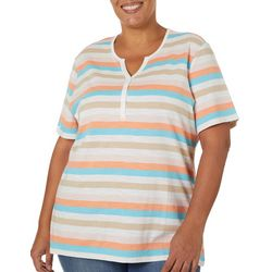 Coral Bay Plus Striped Split Neck Short Sleeve Top