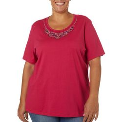 Coral Bay Plus Solid Jeweled Neck Short Sleeve