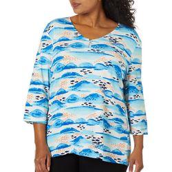 Coral Bay Plus School Of Fish Print V-Neck Top
