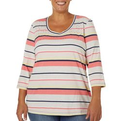 Coral Bay Plus Voyage Stripe Jeweled Neck Top