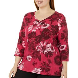 Coral Bay Plus Daisy Print V-Neck Top