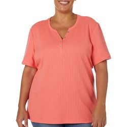 Coral Bay Plus Solid Textured Split Neck Short Sleeve Top
