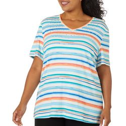 Coral Bay Plus Scratchy Stripes Jeweled V-Neck Top