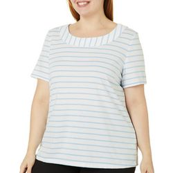 Coral Bay Plus Striped Boat Neck Short Sleeve Top