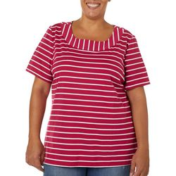 Coral Bay Plus Striped Boat Neck Short Sleeve