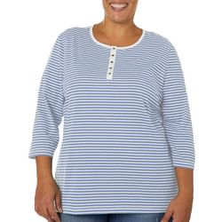 Coral Bay Plus Striped Round Neck Henley Top