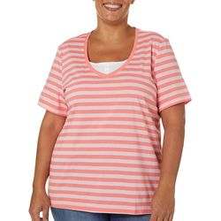 Coral Bay Plus Striped Faux Layer Short Sleeve Top